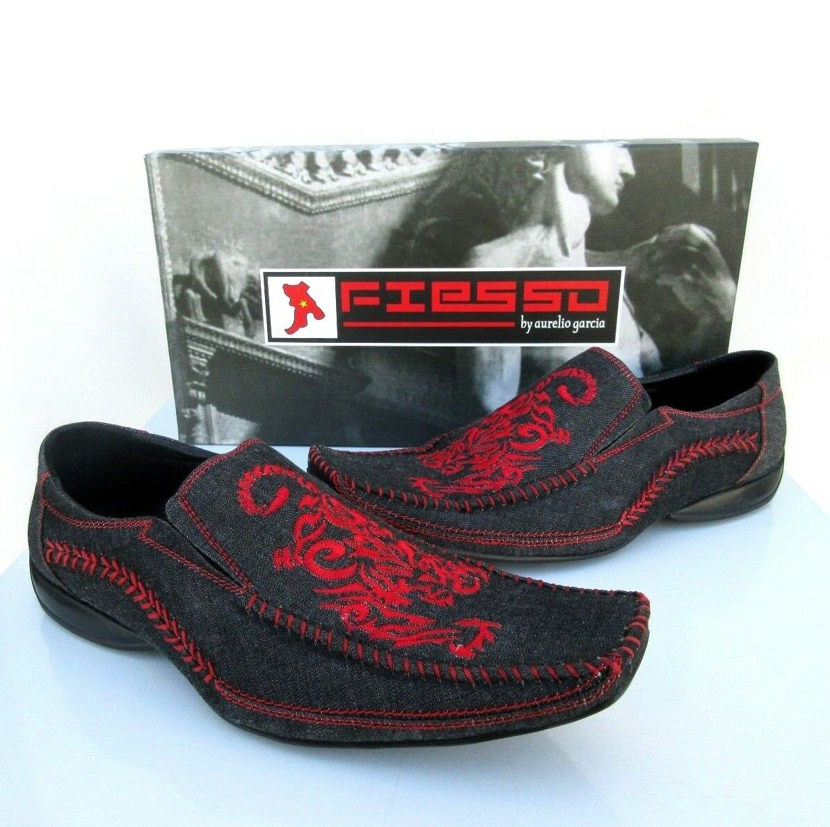 NEW Fiesso Aurelio Garcia Mens Black Style Red Tiger Loafer Shoes Style Black FI-8117 Sz 9 82a301