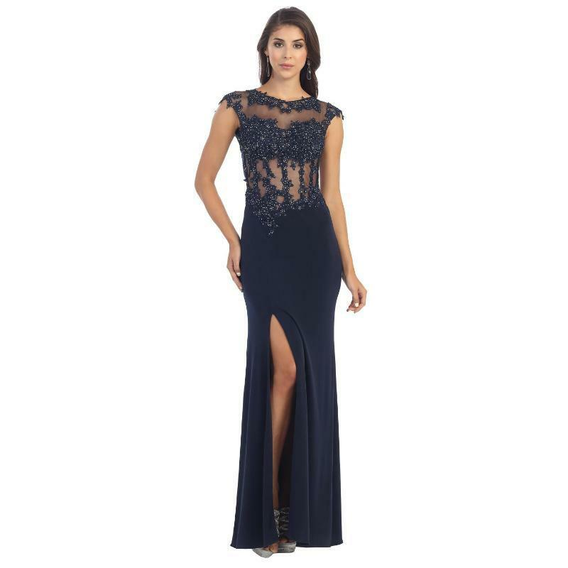 MQ Sexy Navy Cap Sleeve Lace Applique Prom Evening Party Dress Sz 4-16 NWT