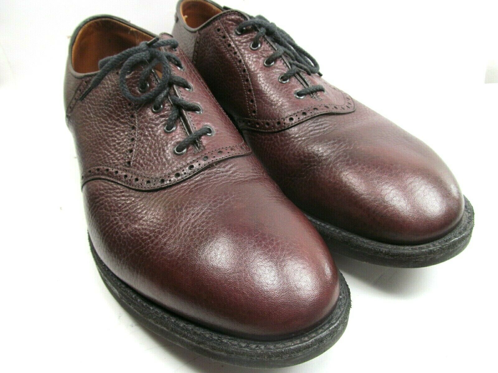 Alden Mens Burgundy Leather Pebbled Oxfords Size US 12 1 2  A C Goodyear Soles