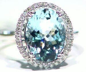 3-82CT-14K-Gold-Natural-Aquamarine-Cut-White-Diamond-Vintage-Engagement-Ring