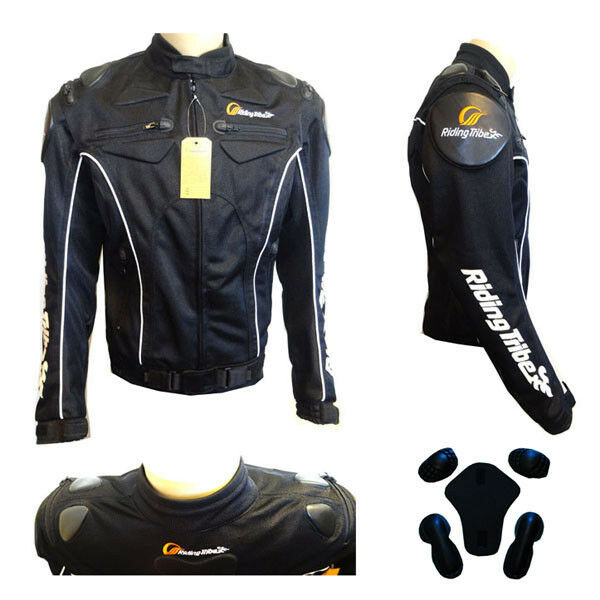 NEW Motorcycle Motorcross MX Armor Touring Sport Bike Textile Jacket Black