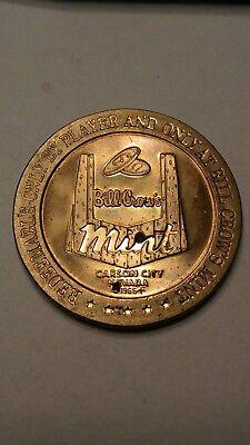 $1 PROOF-LIKE BRASS SLOT TOKEN BILL CROW/'S MINT CASINO 1966 FM MINT CARSON CITY