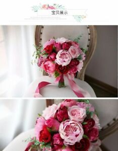 WEDDING BRIDAL FLOWER BOUQUET WITH 6 BRIDESMAIDS BOUQUETS