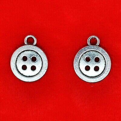 15 x 3D Tibetan Silver Three Buttons Sewing Theme Needlework Charms Pendants