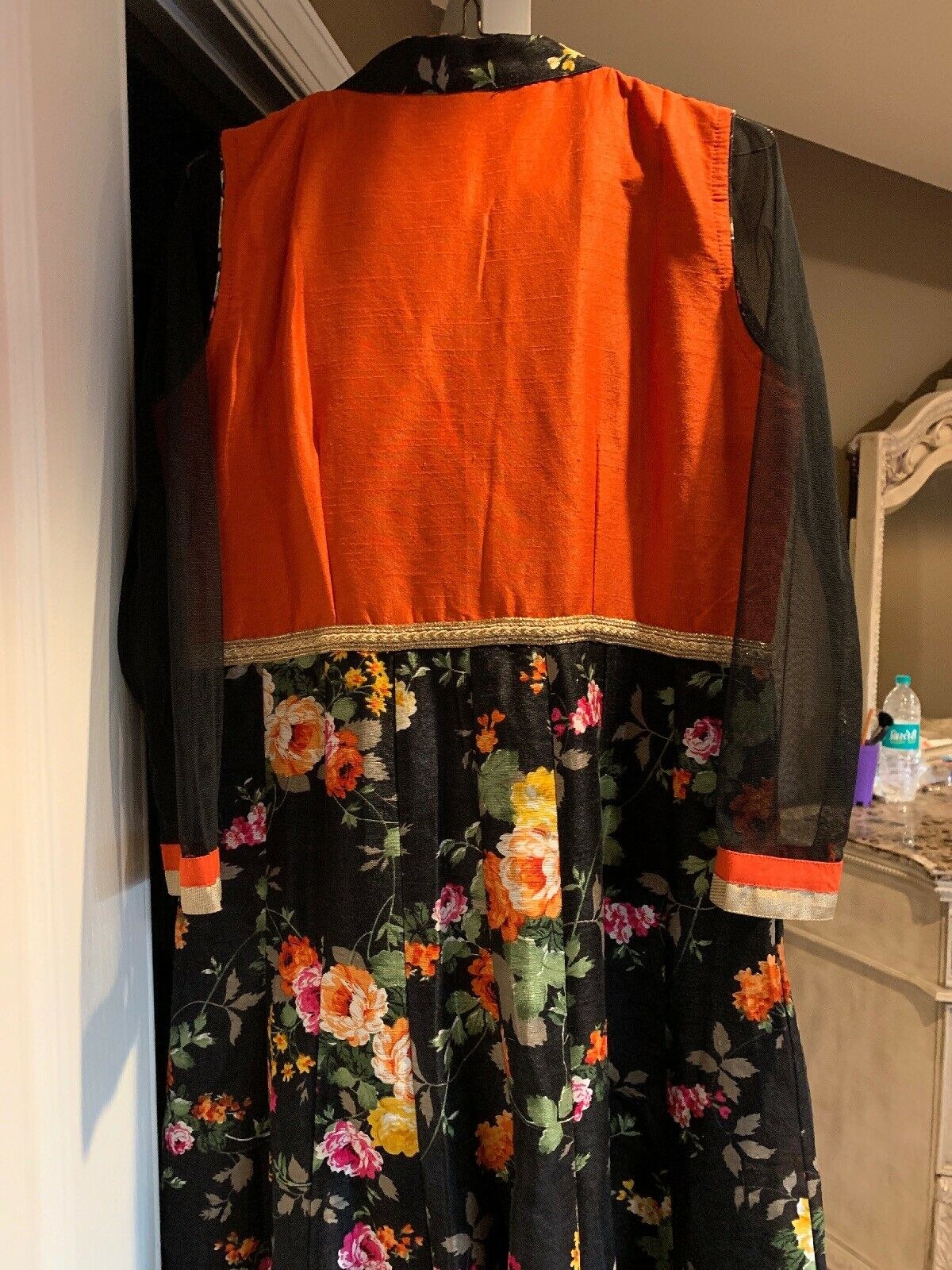Beautiful indian party wear suit - Black And Oran… - image 8