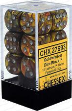 Chessex Lustrous Gold w/ Silver 16mm (Standard) 12 Dice Set CHX27693