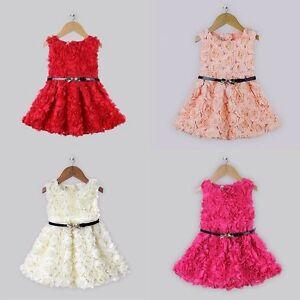 fa2a35f86e Baby Girls Rose Flower Tutu Party Wedding Dress Sleeveless+Belt Suit ...
