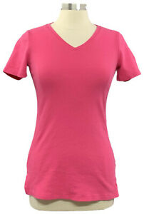 Isaac Mizrahi Live Essentials 2XS Hot Pink V-Neck Short Sleeve T-shirt A272505