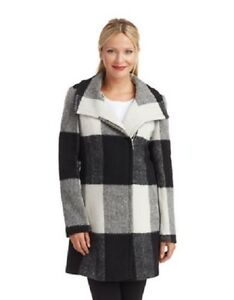 Ivanka-Trump-Women-039-s-Wool-Black-White-Window-Pane-Patterned-Walker-Coat-M