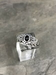 Sz-9-Vtg-Sterling-Silver-Handmade-Ring-925-Silver-Band-W-obsidian-inlay