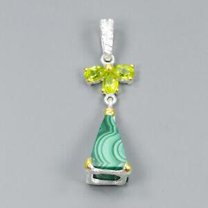 Handmade-Natural-Malachite-925-Sterling-Silver-Pendant-NP06467
