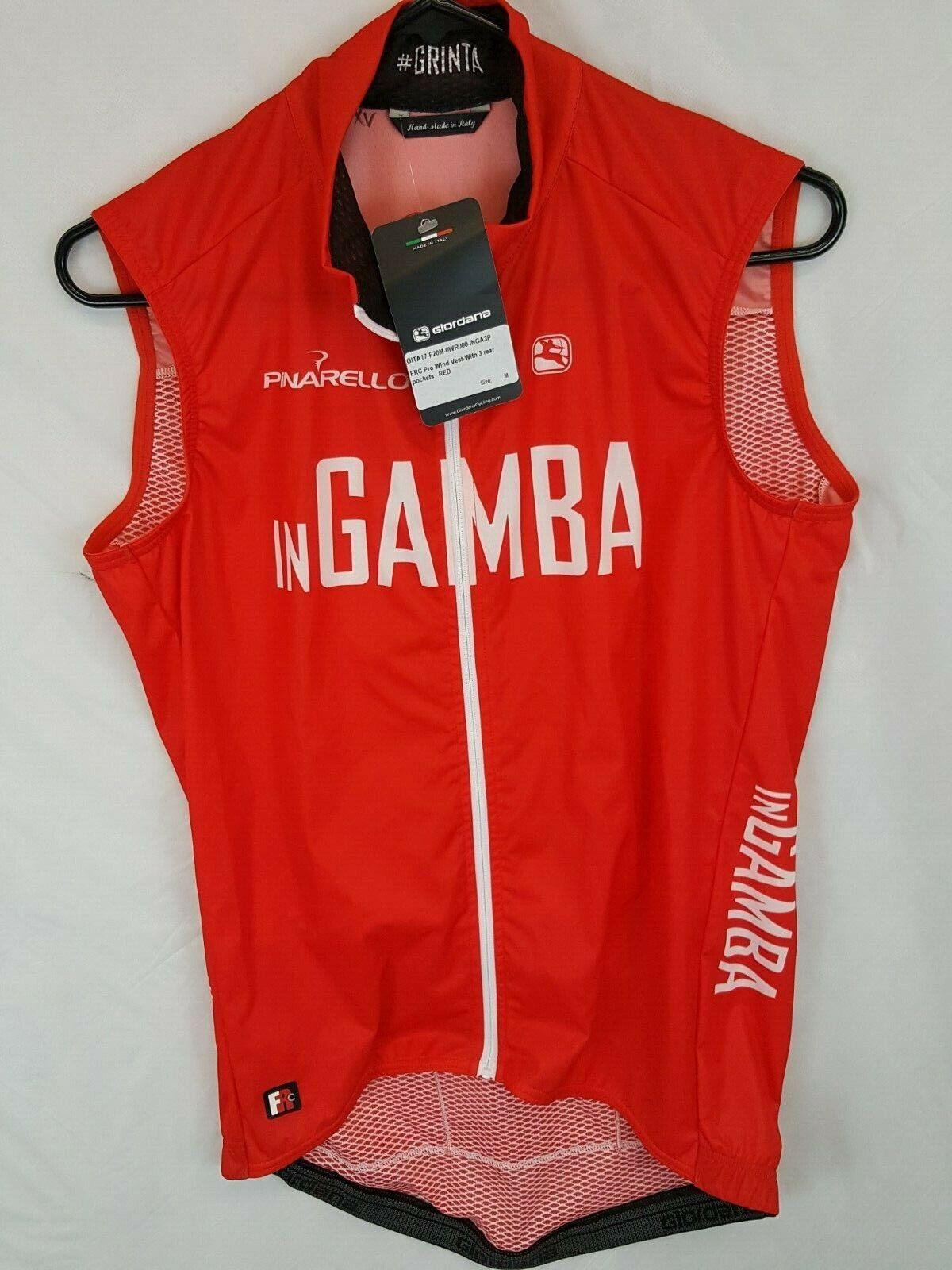 Nouveau Neuf avec étiquettes Giordana FR-C Pro Gamba Rouge Vent Jersey Débardeur Taille M