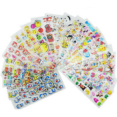 10Pcs Sheets Cartoon Removable Sticker Kid Children 3D Picture Wall Decal Decor