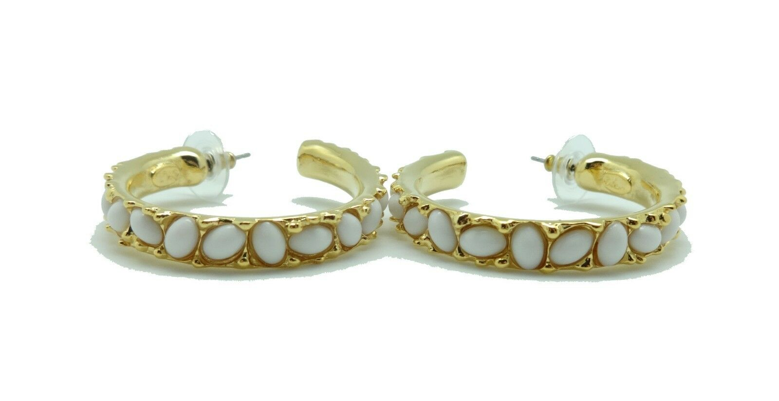 KENNETH JAY LANE Medium White Cabochon goldtone Hoop Pierced Earrings 1 5 8