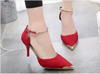 NEW LADIES WOMENS ANKLE STRAP POINTED TOE PARTY HIGH HEEL COURT SHOES SIZE 2-6