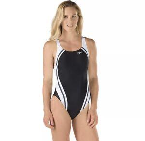 NWT-Speedo-Quantum-Splice-Powerflex-Eco-Swimsuit-One-piece-Black-White-Size-10