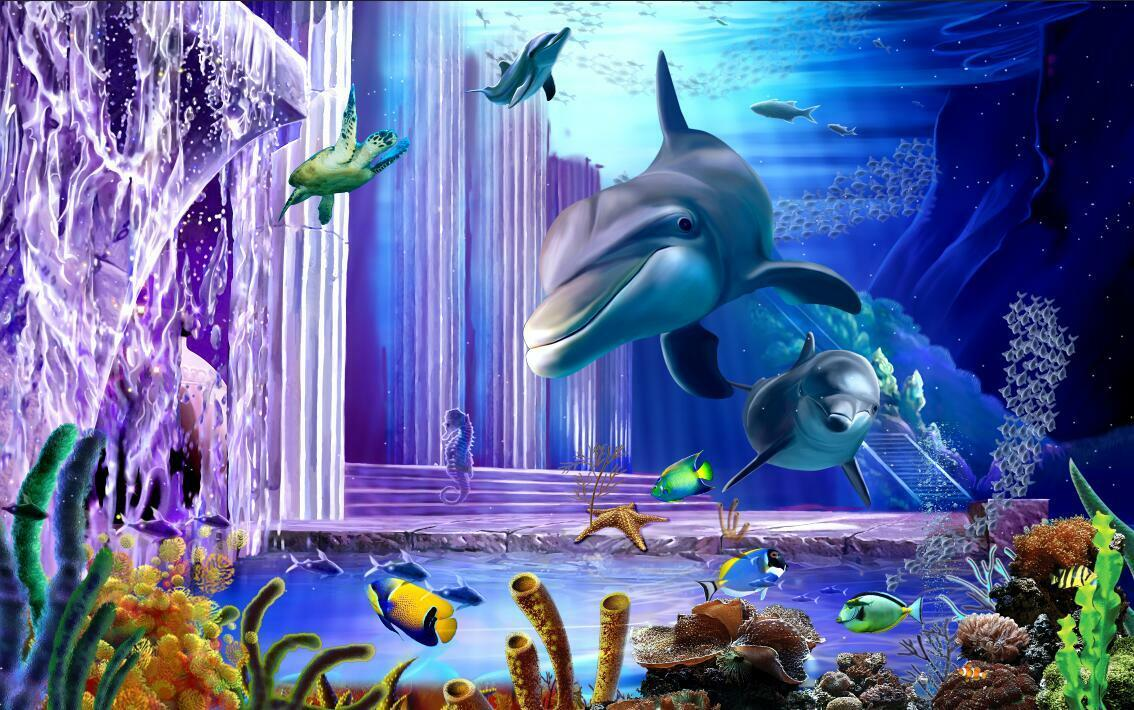 3D violet Dolphin window wallpaper Decal Dercor Home Kids Nursery Mural  Home