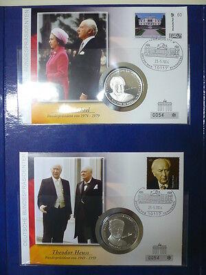 Original Deutschland Numis- Medaillenbrief Sammlung Aller 11 Bundespräsidenten Mit Uhr