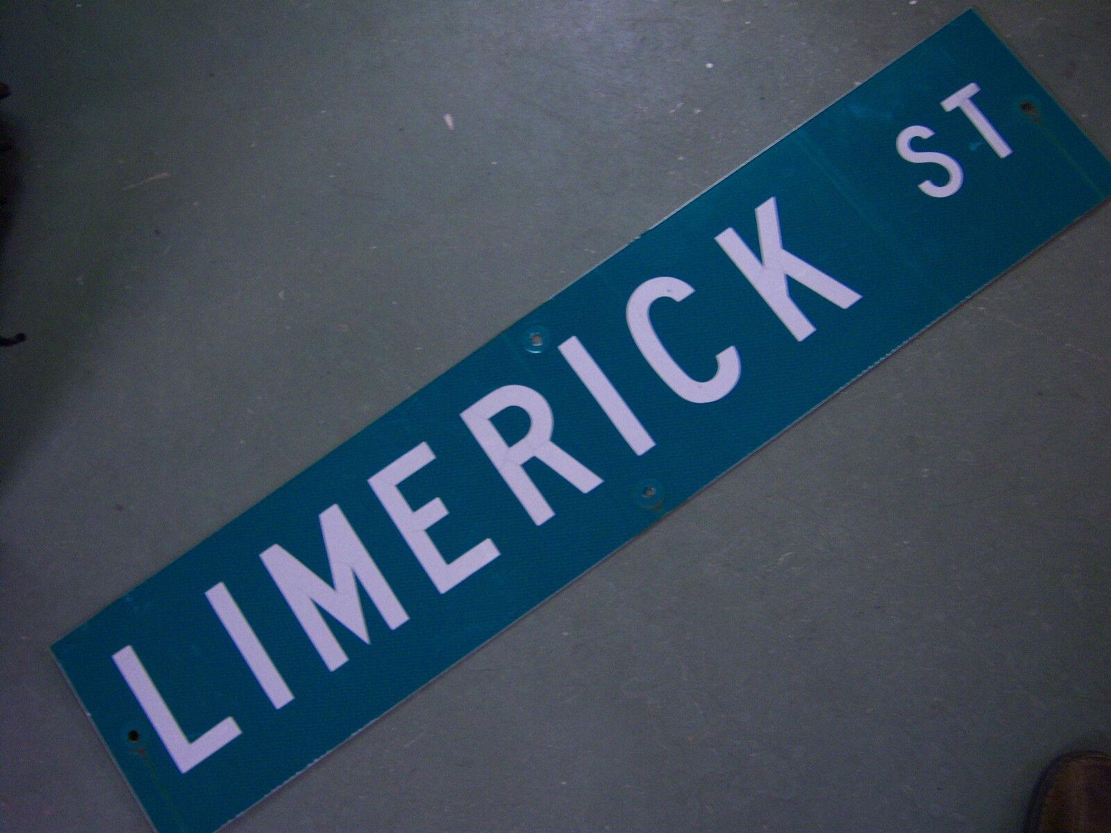 "Vintage ORIGINAL LIMERICK ST STREET SIGN 42/"" X 9/"" WHITE LETTERING ON GREEN"