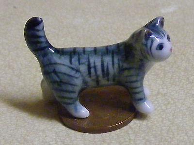 1:12 Scala Casa Delle Bambole In Ceramica A Strisce Gattino Gatto Animale Domestico Accessorio Ornamento Zc-mostra Il Titolo Originale