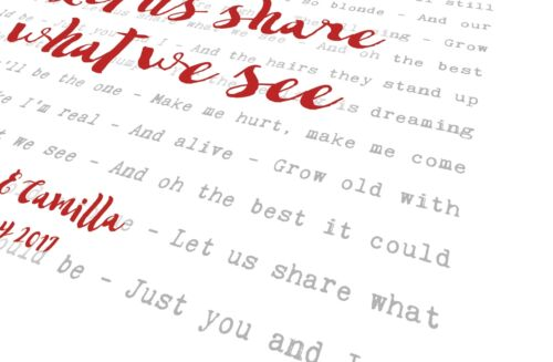Christina Perri A Thousand Years Personalised Song Words Lyrics Print Framed
