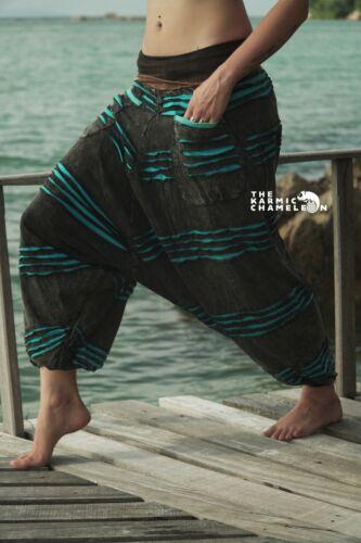 Harem Pants Razorcut Stonewashed Grey Bright Blue Festival Boho Gypsy Festival