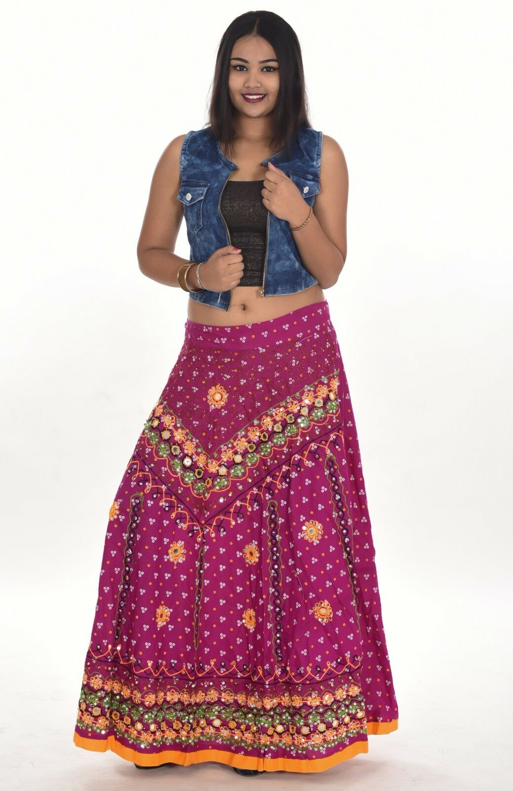 Indian 100% Cotton Women's Long Skirt Hippie Pink color Plus Size Embroidered