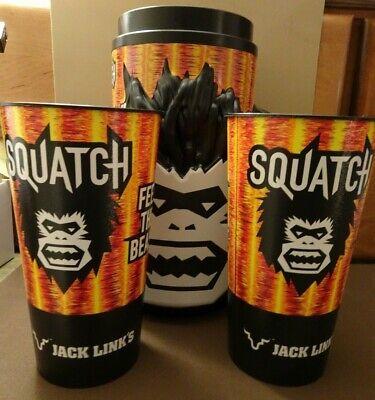 JACK LINKS SQUATCH GLOW IN DARK MUG /& 2 BIGFOOT SASQUATCH FEED THE BEAST CUPS
