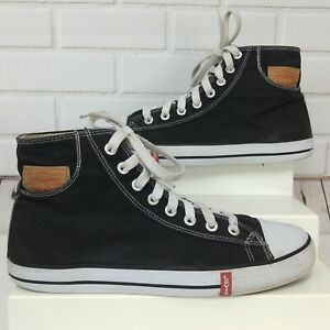 Levis-Hi-Top-Canvas-Sneakers-Black-Pocket-Leather-Patch-Mens-US-13-Levi-Strauss