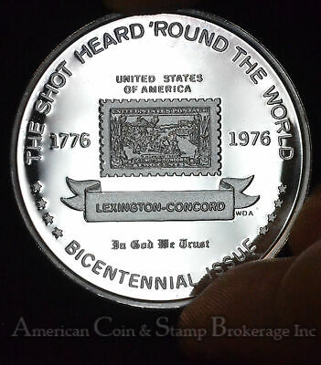 Us Postal Service History Silver Proof Medal Lexington Concord 2c Two Cent Stamp Ebay