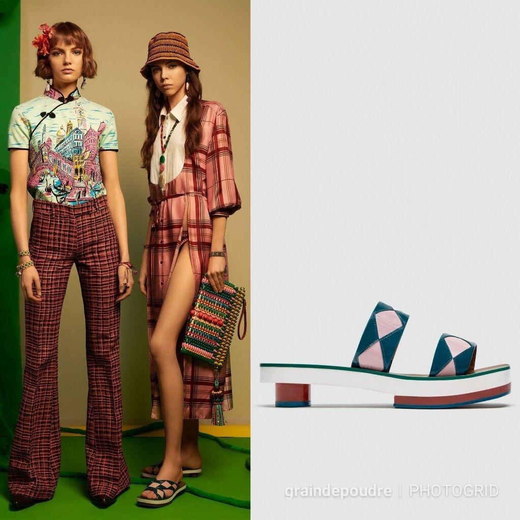 NWT Zara Studio Pink & Teal Patent Leather Geometric Slide Sandals 38