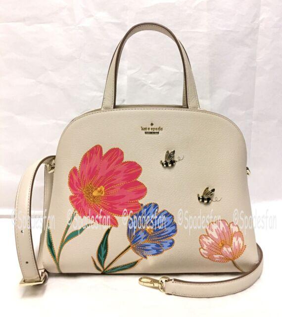 Kate Spade Pxru8822 Picnic Perfect Bee Fl Lottie Satchel Bag 2 Way Purse Nwt