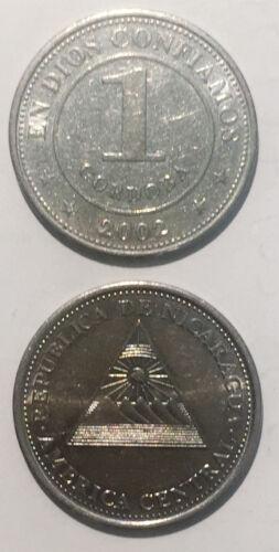 Nicaragua 1 Cordoba 2002 Delta Mountain and Sun 25mm steel coin