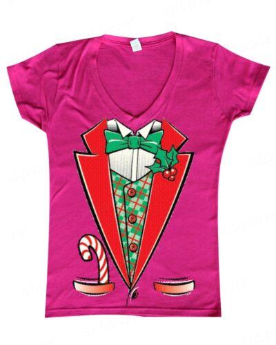 Christmas Tuxedo Women/'s V-Neck Funny Ugly Xmas Holiday Costume Festive T-Shirts