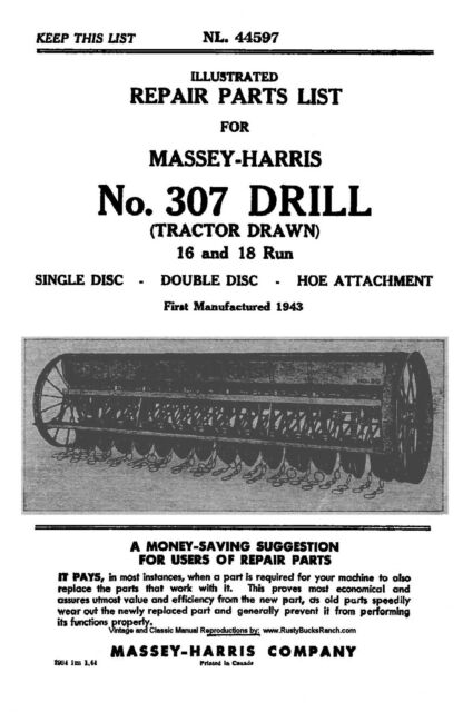 Massey Harris No  307 Tractor Drawn Drill Parts Manual 16