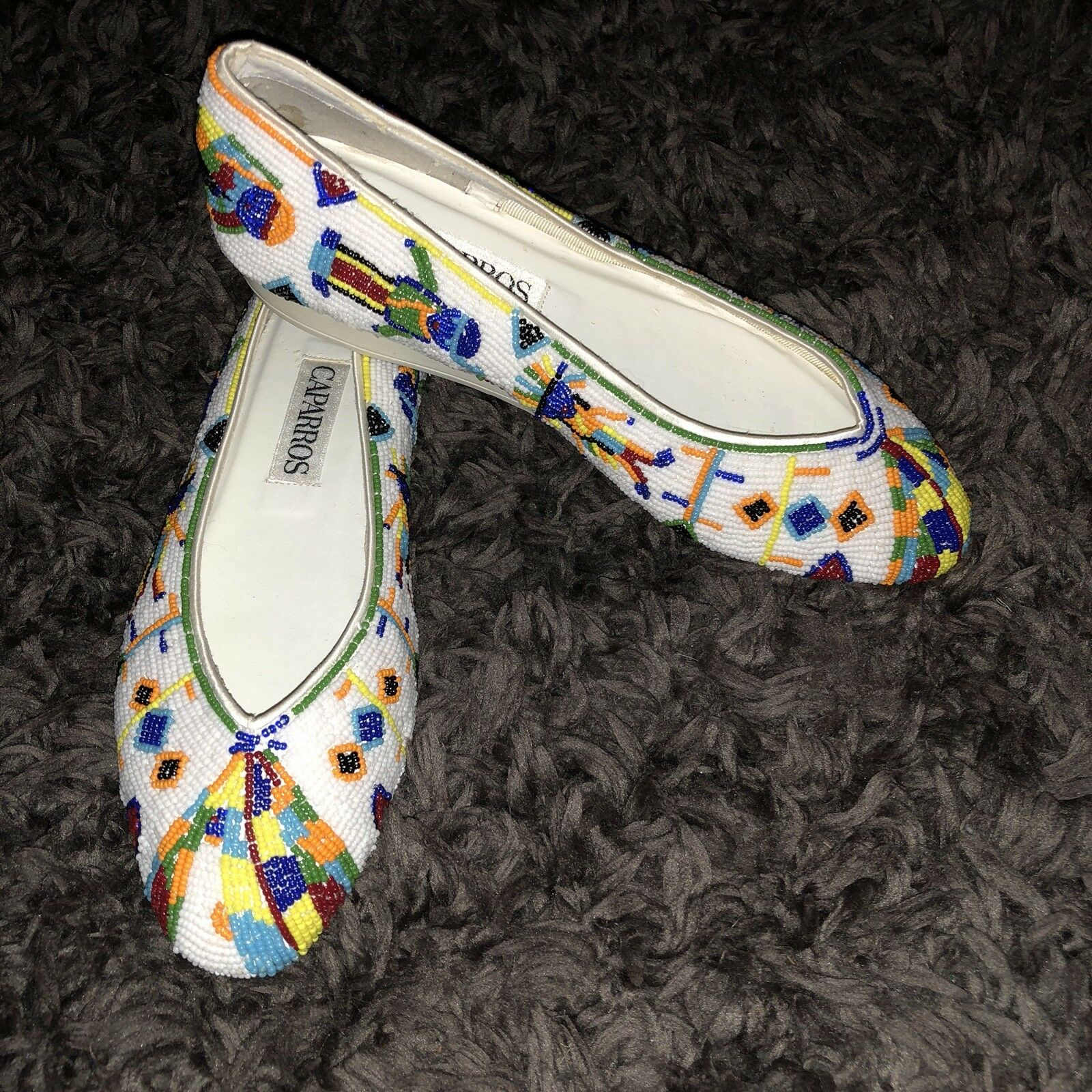 CAPARROS White Beaded Flats Sz 7.5 7.5 7.5 NEW VTG colorful Beads Aztec shoes Embroidery dd47b6