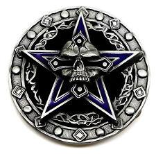 Skull Belt Buckle Death Skull & Pentagram Skeleton 3D Gothic Authentic Pagan
