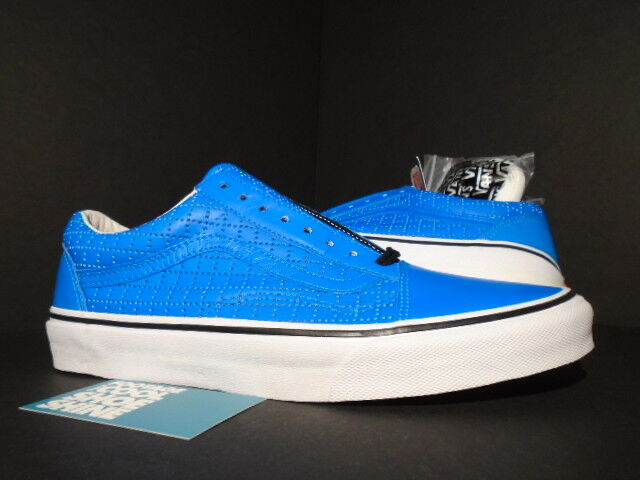 2015 VANS OLD SKOOL SUPREME PERF CHECK BLUE LEATHER WHITE SK8-HI VN-01R1HD7 9.5