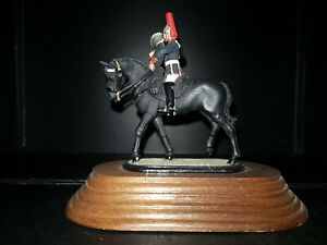 Vintage-54mm-Metal-Toy-Soldier-Mounted-Blues-and-Royals-Euphonium