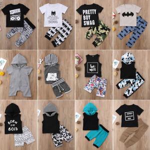 b1206cf68e8e8 2PCS Toddler Newborn Baby Boy Kids Clothes Set Cotton T-Shirt Top+ ...