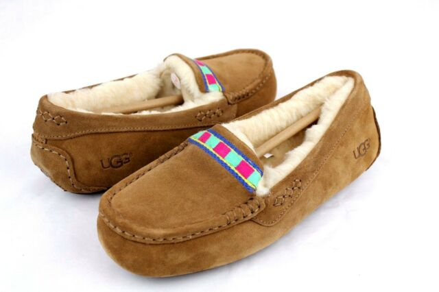 6641a289e UGG Ansley Embroidery Fully Lined Slippers Chestnut Color Size 8 US