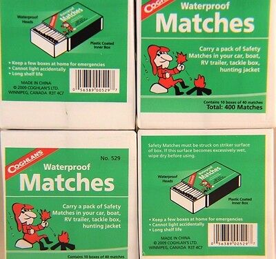 WATERPROOF MATCHES-40 BOXES OF 40+ OVER 1600 MATCHES-CANNOT LIGHT ACCIDENTALLY!