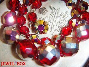 Vintage-1950s-SIAM-RED-RAINBOW-AURORA-BOREALIS-CRYSTAL-Bead-NECKLACE-FAB-CLASP