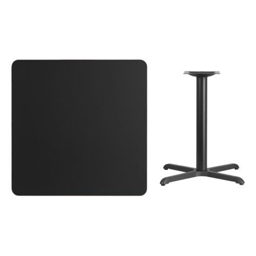 """Table Height Restaurant Table 36/"""" Square Black Laminate Table Top With Base"""
