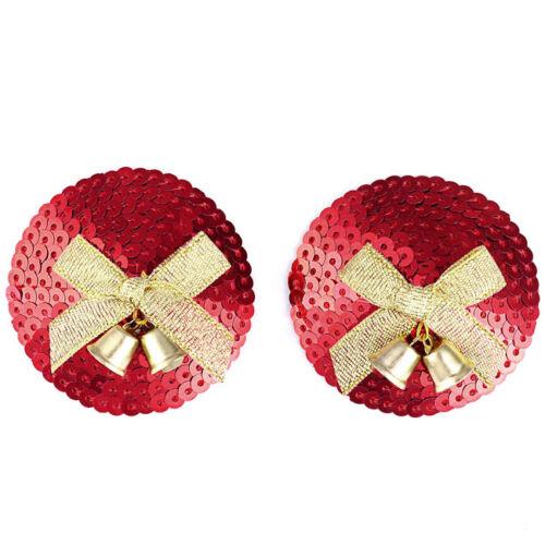 2pcs Women/'s Pasties Nipple Cover Jingle Bell Breast Bra Tassle Lingerie Red
