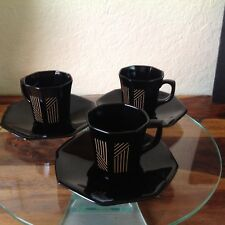 Vintage Luminarc Arcoroc France Black Gold Cup 6 Saucer and