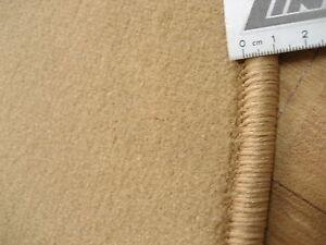 6635-flacher-runder-Teppich-100-cm-feiner-Velours-rund-weich-hell-braun-beige