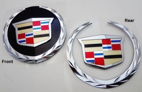 WITHOUT REAR PLATE Cadillac ESCALADE 2007-2014 FRONT /& REAR Emblems EXT !