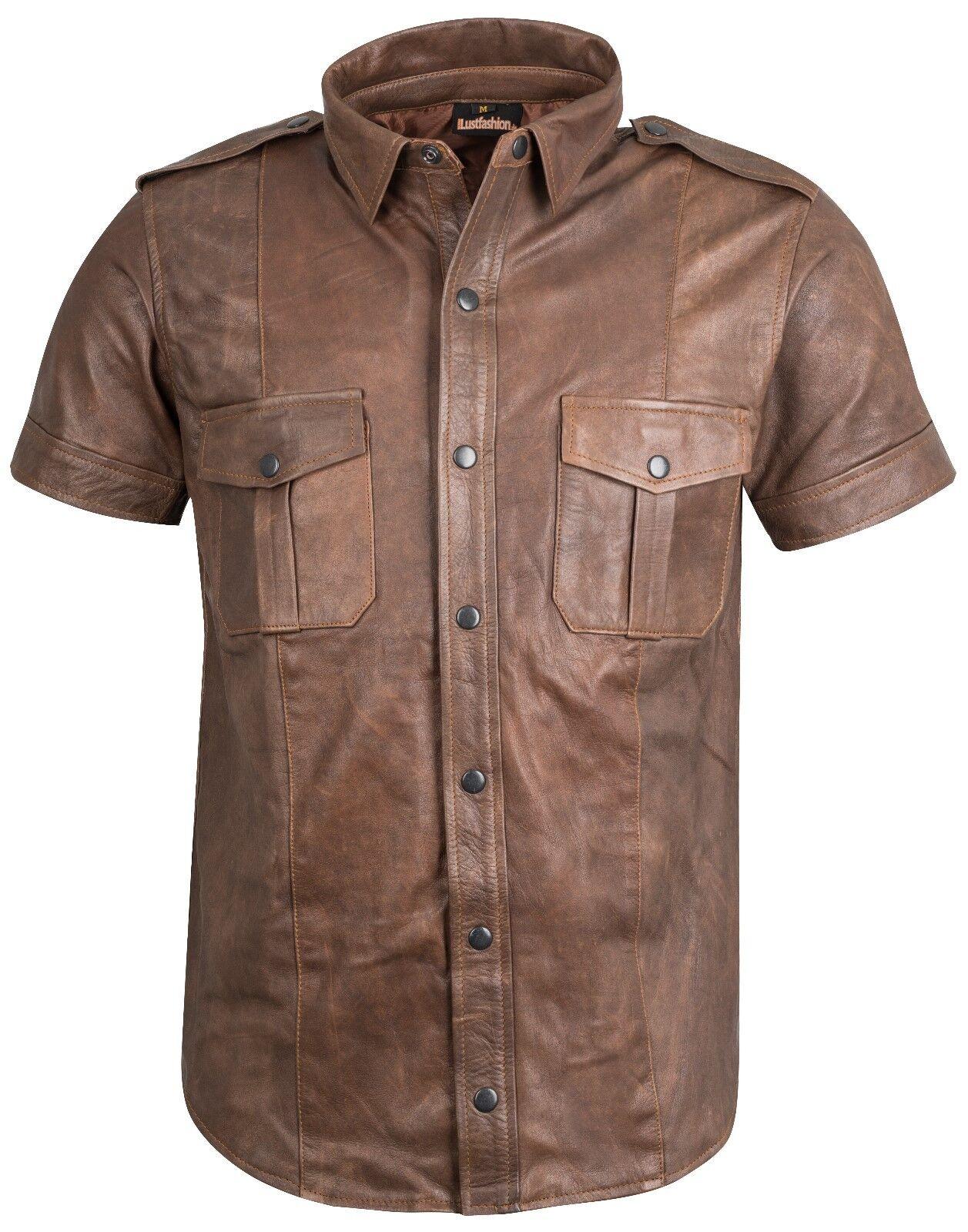 Leather SHIRT new antique police shirt leather uniform XS S M L XL XXL XXL XXXL