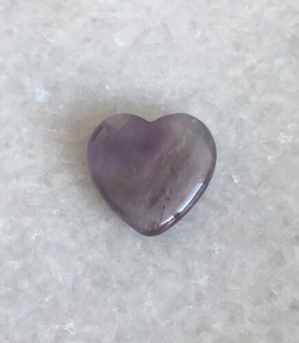 Natural Amethyst Crystal Carved Heart Pocket Palm Healing Calming Gem Stone